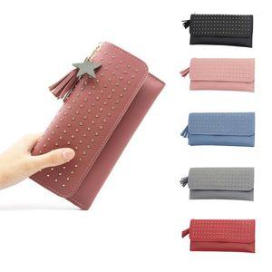 Studded wallet zipper coin purse rivet wallet women's new long card document holder 2020 Women's Dropship Y1.91