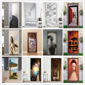 2Pcs   Set Stair Door Sticker Black Stick Wallpaper Geometric Waterproof Renovation Poster Stickers On Doors Decals Home Decor