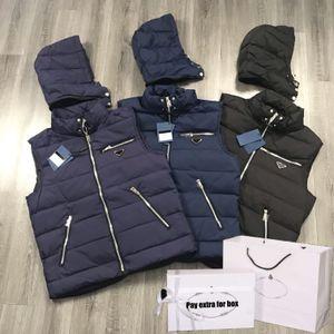 Мужские ветровки Vest 2020 Новый капюшоном вниз пальто зимы Толстые Top куртки вскользь Сплошные цвета Жилет с карманами на молнии 3 цвета оптом
