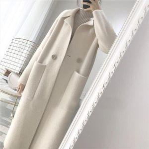 Spring Autumn Women Trench Coat Long White Warm Outwear Pocket Turn down Collarloose Female Wool Coat Single Button Raincoat