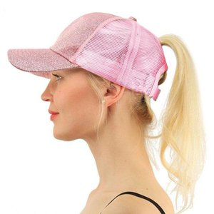2020 Fashion Women Ponytail Baseball Hat For Girl Summer Mesh Breathable Hole Retro Shiny Sports Adjustable Visor Cap Sun Hats H jllhKM