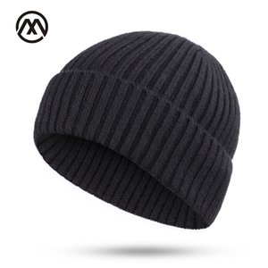 Winter Men's Knitted Cotton Caps Solid Color New Fashion Ski Warm Comfortable Unisex Thick male hats turban slouchy beanie bone 201027