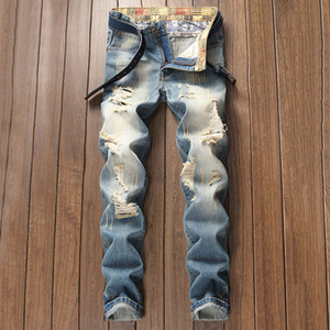 Mens ripped jeans European and American style new youth retro old light-colored frayed pants straight trousers