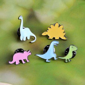 Stroke Cartoon Colorful Dinosaur Apatosaurus Stegosaurus Brooch Pins DIY Button Denim Jacket Badge Gift