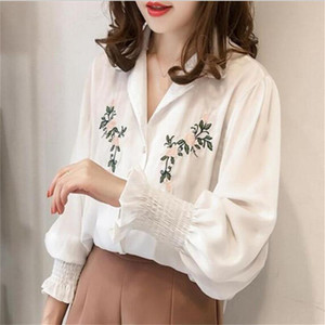 Embroidery Lace Shirt Plus Size Autumn Women Long Sleeve Linen Cotton Girls Blouse Femme Casual White Tops Women Blusas
