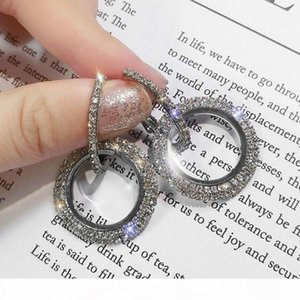 New Diamond Earrings Fashion Creative Long Earrings earings for Women Temperament Diamonds Geometric Circle Stud earring Earrings Jewelry