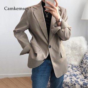 CamKemsey Büro Damen Freizeit-Blazer-Jacken Damen koreanischen Chic Herbst Reverskragen Einreiher Vintage-karierte Anzüge Mäntel