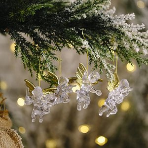 2 Bags 8pcs Pendant Angel Shape Portable Creative Adorable Transparent Christmas Tree Ornament Hanging Pendant For Party bbyhOs xmh_home