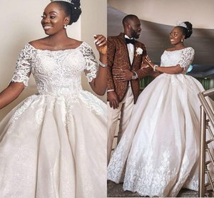 Stunning Black Girls Wedding Dresses With Short Sleeves 2021 Arabic Aso Ebi Scoop Neck Lace Appliqued Bridal Ball Gowns Plus Size AL7525