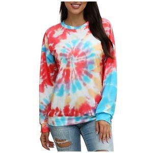 Tie Dye Hoodie Rainbow Hoodies Fashion Womens Casual Bluzy Round Neck Gradient Tie-dye Long Sleeve Hooded Sweatshirt