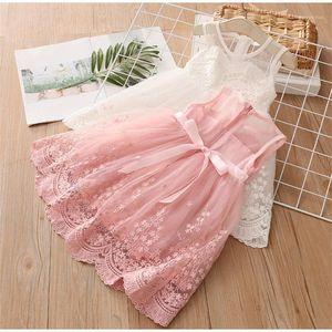 Платья девушки платья девушки платье 2021 летний стиль кружева повседневная одежда розовая принцесса ребенок девушка одежда элегантные дети для девочек1