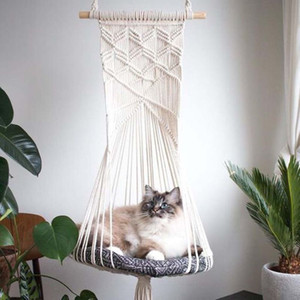Parete a tappezzeria Handwoven Parete Appeso Macrame Pet Cat Hammock Bed Cage Swing Decor 425d 201109