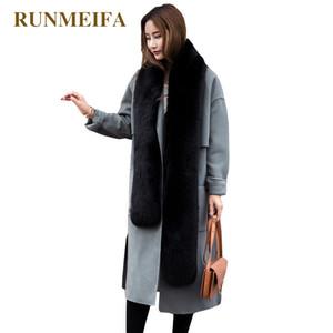 RUNMEIFA Sólidos simulação de cores Fox Fur Pashminas por Mulheres Winter Scarf Quente gola Wraps Feminino roubou Noble Fur cachecóis Y201007