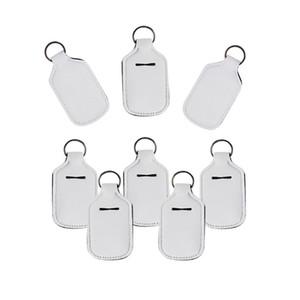 Sublimation Blanks Bouteille Manches Blanc 30ML bouteille Couverture Désinfectant Parfum Emballage Porte-clés Matériel néoprène 1 6NY L2