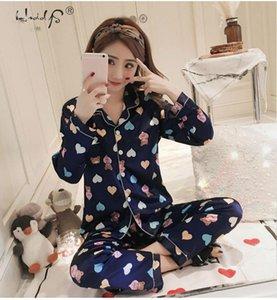 Long Sleeve Silk Pajamas Winter Women Pajama Sets Satin Pijama Sleepwear Pyjamas Cartoon Bear Stripe Print Pajamas Nightwear Set Y200708
