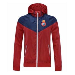 giacca a vento Espanyol zip con cappuccio da calcio Windbreaker calcio giacca sportivo mano piena con cerniera Uomo Giacche