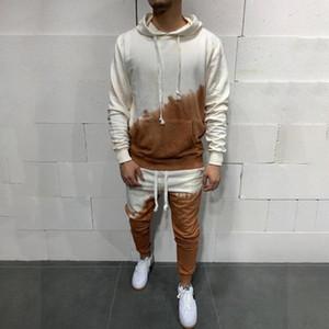 Kapüşonlu Spor Seti erkek Kontrast Renk Kişilik 3D Degrade Rahat Takım Elbise Açık Koşu Koşu Spor Kazak Kapüşonlu Erkekler Takım Elbise