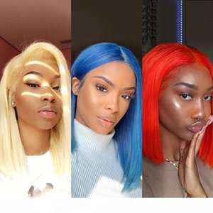 13x6 Deep Part Transparent Lace Blonde Lace Front Human Hair Wigs Straight Remy Hair 613 Yellow Red Blue Colored Human Bob