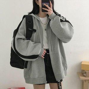 Women Over Size Hooded Coat Long Sleeve Loose Hoody Size Stripe Female Korea Style Drawstring Tracksuit Tolstovki T2G