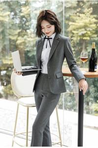 Novedad gris uniforme formal diseños se adapta mujeres de negocios con pantalones y chaquetas Escudo señoras de la oficina del trabajo del desgaste trajes de pantalón Blazers