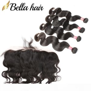 """Brazilian Body Wave 4 bundles hair with a lace frontal (13x4"""") Weaves Closure Hair Extensions Double Weft Natural Color Bellahair"""