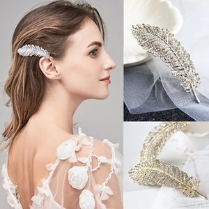 Alloy Rhinestone Feather Hairpin Women Girls Hair Clips Barrettes Accessories Hair Ornament Hairclip Headdress