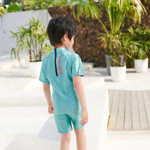 Fatos de banho para o menino crianças swimsuit swimwear Crianças crianças roupas de banho do bebê Suits Rash Guards Masculino Criança One Piece Longo