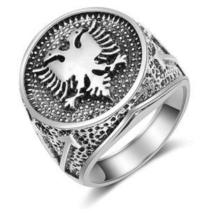 Albania flag double headed eagle men's ancient silver ring