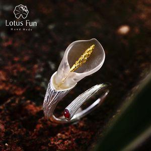 Lotus Fun Real 925 Sterling Silver Natural Gemstones Designer Fine Jewelry Calla Lily Flower Ring Adjustable Rings Women Bijoux 201026