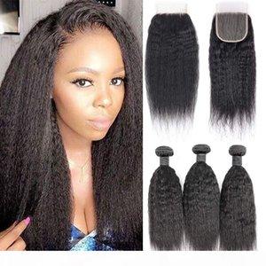 8a Yaki kinky прямые человеческие волосы 3 пакета с 4x4 кружевной закрытием свободной части, 100% необработанные монгольские девственницы человеческие волосы