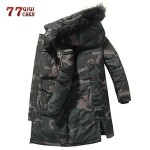 Winter Camouflage Down Jacket Men -30 degrees Thick Warm Long Parkas Coats Fur Collar Windbreaker 90% White Duck Down Jackets