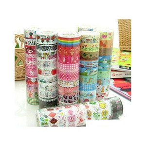 100pcs 1.5cm*3 meter paper sticky adhesive sticker decorative washi tape new #r801 EDYKy