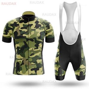 Yeni Erkek Kamuflaj Bisiklet Jersey Kısa Kollu Bisiklet Giyim Seti Bisiklet Giyim Triatlon Üniforme MTB Nefes Bisiklet Takım Seti1