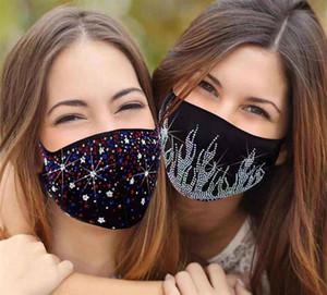 2021 new  face mask Rhinestone Sequin bling masks for men women Rhinestone Cotton mouth Mask adult black Dustproof Haze facemask