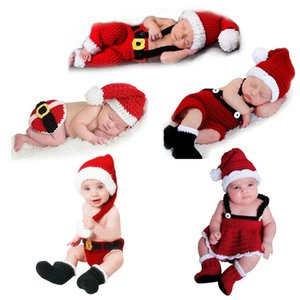 Newborn Baby Cute Crochet Knit Christmas Hat Photography Prop Santa Claus Infant Boys Girls Costume Outfits Dropshipping