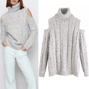 2021 New Gray Turtleneck Off Shoulder Cable Knitted Sweater Women Autumn Winter Long Sleeve Designer Sweaters Ladies Casual Pullover R3pe