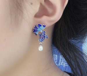 Pendientes Balmora 925 Simular-perla Goldfish retro para mujeres que esmalta la Moda Etnica Jewelry99