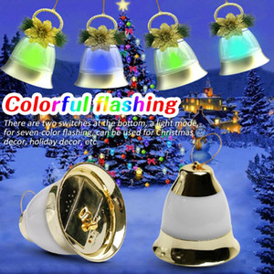 2pcs LED Christmas Music Colorful Lights Bell Decorative Sound Control Small Bell Light Pendant for Home Party Decoration