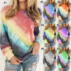 Plus Size Women T Shirt Long Sleeve Rainbow Gradient Tie Dye Pullovers Blouses Spring Autumn T-Shirt Casual Pullover Tops