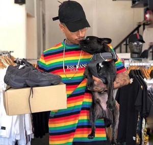 FW18 Sean Bunte Stickerei TOUR T-SHIRT A $ AP ASAP Rocky T-Shirt Gestreift T-Shirt Männer Casual Kurzärmlige Straße Mode Tops HFLSTX31