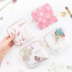 Cotton Bag Zipper Bag Purse Pouch Fabric Storage Cartoon Face Mask Mini Storage Pouch Towels Sanitary Save Pad Cute Organizer Kkpck