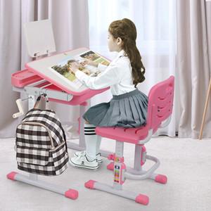 Waco Kids Secretária e cadeira Set, altura de levantamento manualmente Ajustável Crianças de estudo Tiltable, Boibstand, Caso de lápis, Gaveta Pull-Out