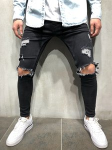 Elastic Uomo Torn Magro Locomotiva con fori Ripped Destroyed Taped Slim Fit Denim Graffiato jeans di alta qualità
