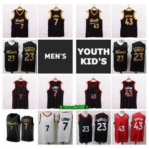 2021 Мужские Молодежные Детские Дети Торонтос Баскетбол Джерси Аутентичные Сшитые Паскаль 43 Siakam Kyle 7 Lowry Fred 23 Vanvleet Kid Youth Jersey с логотипом