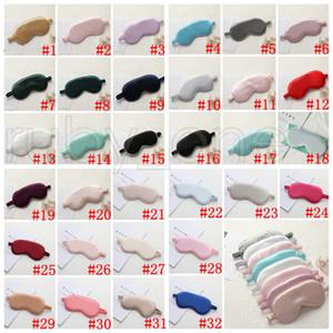 أقنعة الحرير النوم الراحة تظليل العين قناع الظل مبطن غطاء Eyepatch السفر الاسترخاء أدوات الغمائم Eyemask العناية بالعيون 32colors RRA3747