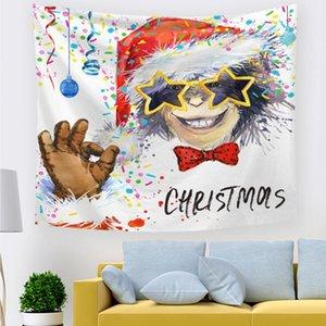 Noël tapisserie Décoration murale Décoration Printed Tapestries For Living Birthday Party Salle de mariage 150x130cm Bonne année BWF2575