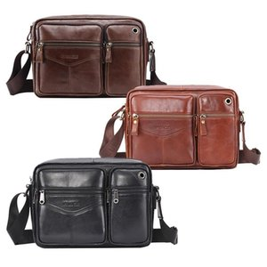 LJL-PI UNCLE rétro en cuir Messenger à bandoulière Hommes Sac à main Porte-documents multi-poches Messenger Bag