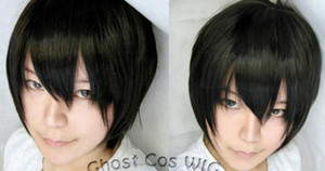 Stylish Human Hair Toupee Unisex Short Cosplay Party Black Wigs