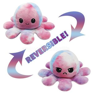 Reversible Flip Octopus Plush Stuffed Toys Soft Cute Animal Doll Children Gifts Baby Companion Easter Party Favors Hot DHL Ship