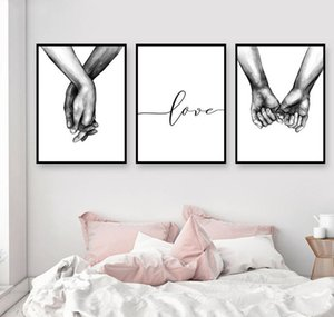 Holding Minimalist Picture Quote Hands Decor Canvas Room Black Art White Lover Painting Wall Prints Poster And Nordic Living For jllFB